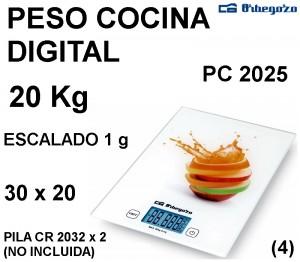 PESO COCINA DIGITAL 20 Kg PC-2025 ORBEGOZO